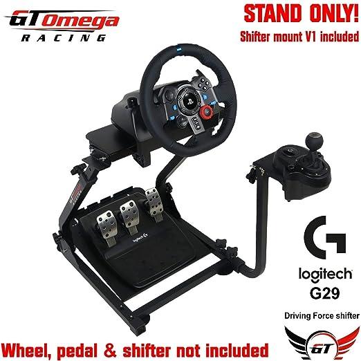 GT Omega Lenkradständer PRO für Logitech G29 Racing Wheel - Pedale & Schalthebelhalterung V1 - Unterstützung des Fanatec Club