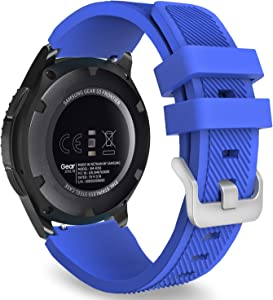 MoKo Band Compatible with Samsung Galaxy Watch 3 45mm/Gear S3 Frontier/Classic/Galaxy Watch 46mm/Huawei Watch GT 46mm/Watch GT 2e 46mm/Ticwatch S2/E2, Silicone Sport Strap Fit 22mm Band, Royal Blue