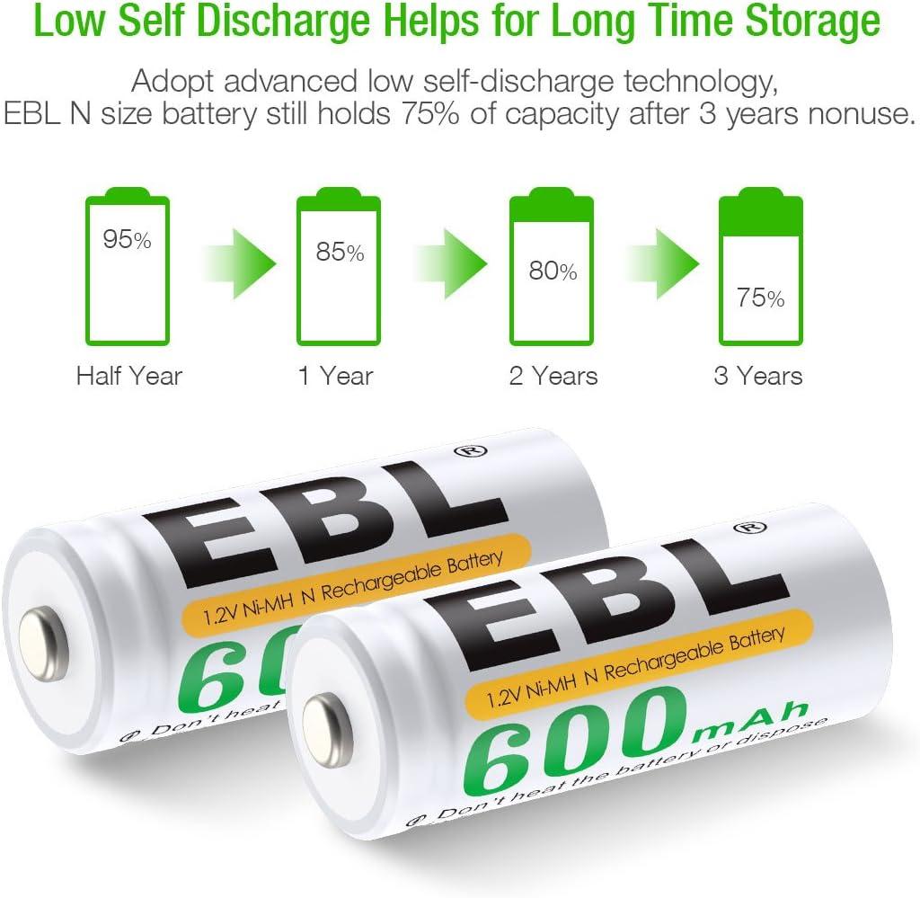 EBL 4 Pack N Tama/ño MN9100 LR1 600mAh Ni-MH Bater/ías Recargables