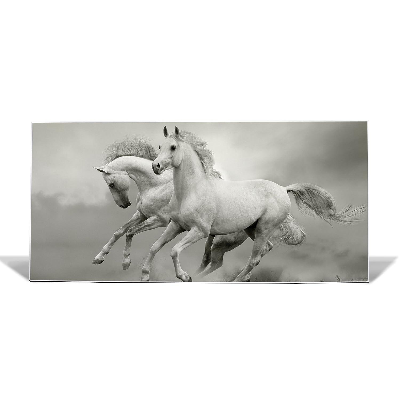 Motiv Wilde Pferde banjado Design Magnettafel wei/ß Memoboard mit Magneten und Montageset Metall Pinnwand Wandtafel magnetisch 37x78cm gro/ß