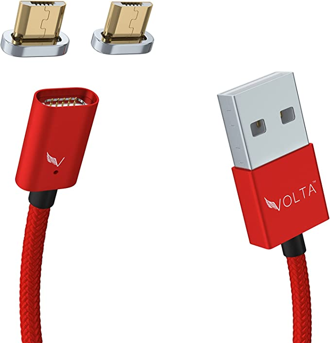 Volta Charger Micro USB to USB A, Magnetic Universal Charger, 3.0 Quick Charge Compatible, Fast Charge & Rapid Charge, x1 Cable +2 Micro USB Tips