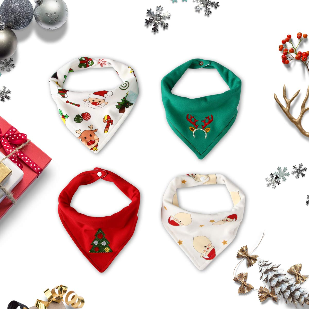 Christmas Baby Bandana Bib Soft Absorbent Cute Baby Bibs for Teething Drooling, Perfect Baby Shower Gift Set by Little Dimsum (Christmas 4-Piece Set)