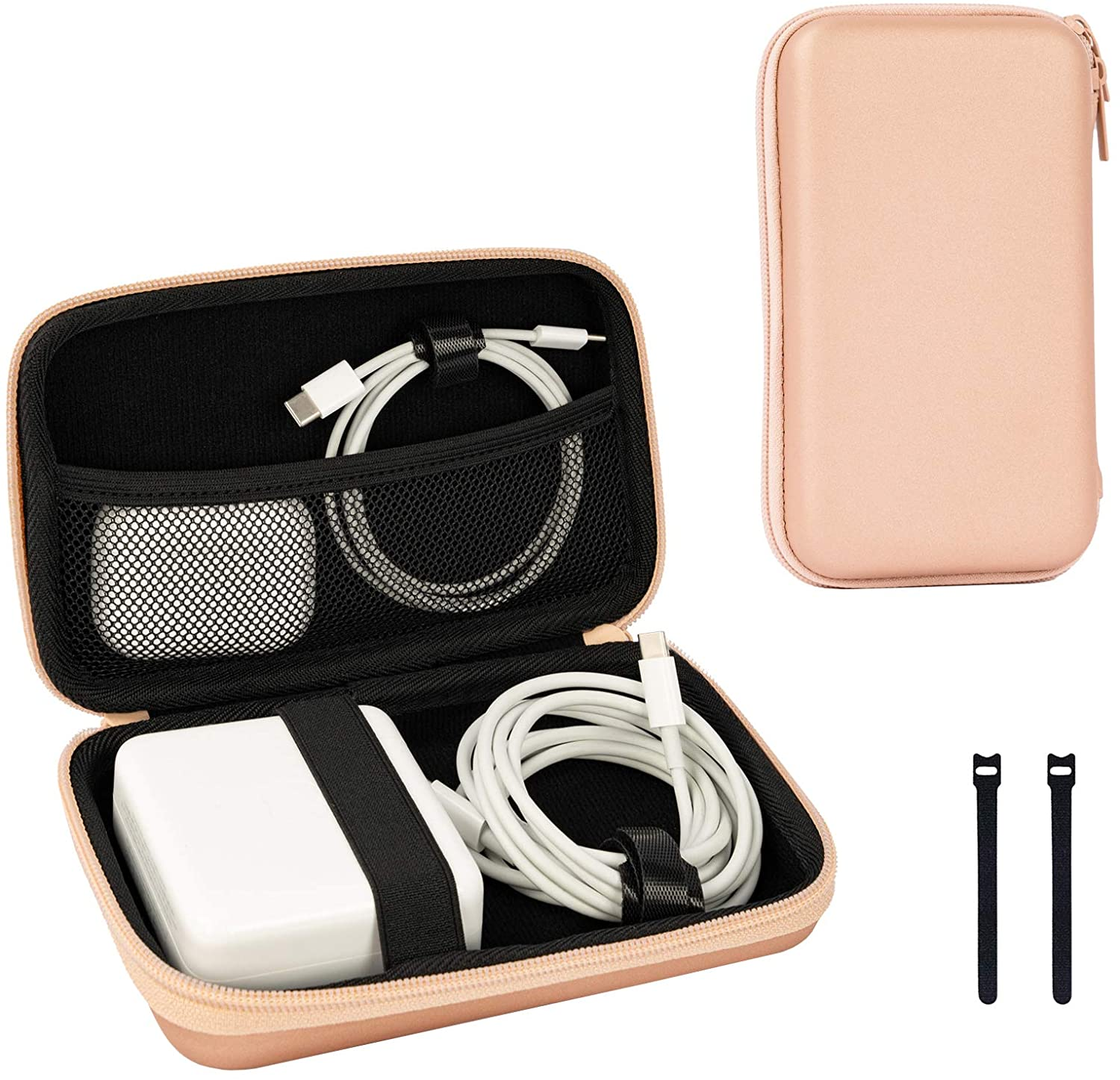 ProCase Carrying Case for MacBook Air/Pro Power Adapter, MagSafe, MagSafe2, iPhone 12/12 Pro MagSafe Charger, USB C Hub, Type C Hub, USB Multiport Adapter, Portable EVA Pouch, 2 Cable Ties -Rosegold