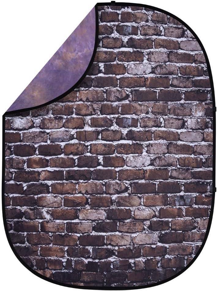 KIT 5 x 6.5 Pop-Up Reversible Background with Reflector Stand /& Clip Back Alley Brick//Dark Purple//Light Purple Interfit PB406K Studio Essentials Collapsible