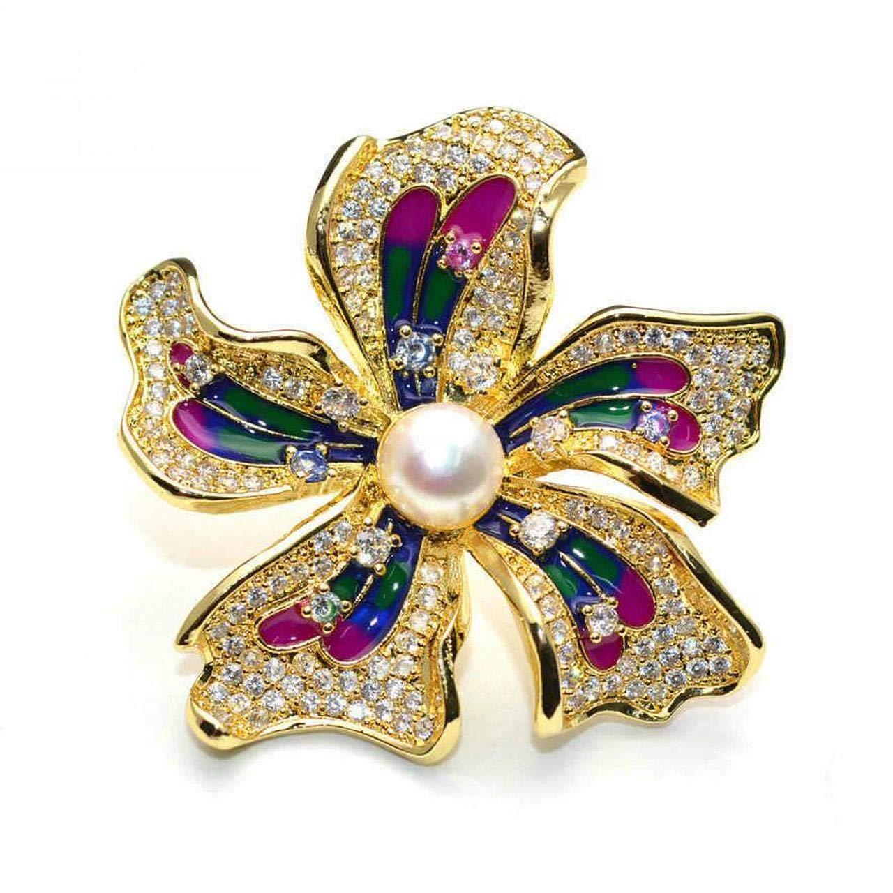 Chinese Redbud Flower Shape Brooches Brooch Pin Badge Emblem Corsage Freshwater Pearls /& Rhinestone Setting Jewelry Fashion Women Girl Party Gift