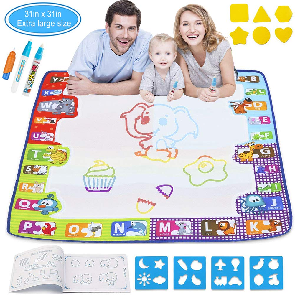 JIXUN Aqua Magic Doodle Mat, Kids Large Water Drawing Mat Painting Board with 2 Magic Pens, 1 Magic Brush and 8 Molds, Educational Toy Gift for Boys Girls, 30.3'' x 30.3'' (34''23'')