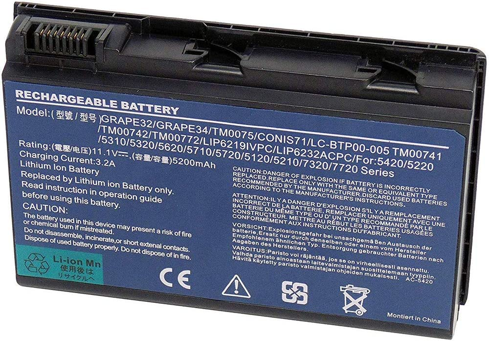 XITAIAN 5200mAh GRAPE32 TM00741 Repuesto Batería para Acer Extensa 5120 5210 5220 5230 5235 5420 5430 5610 5620 5630 7120 7420 7620