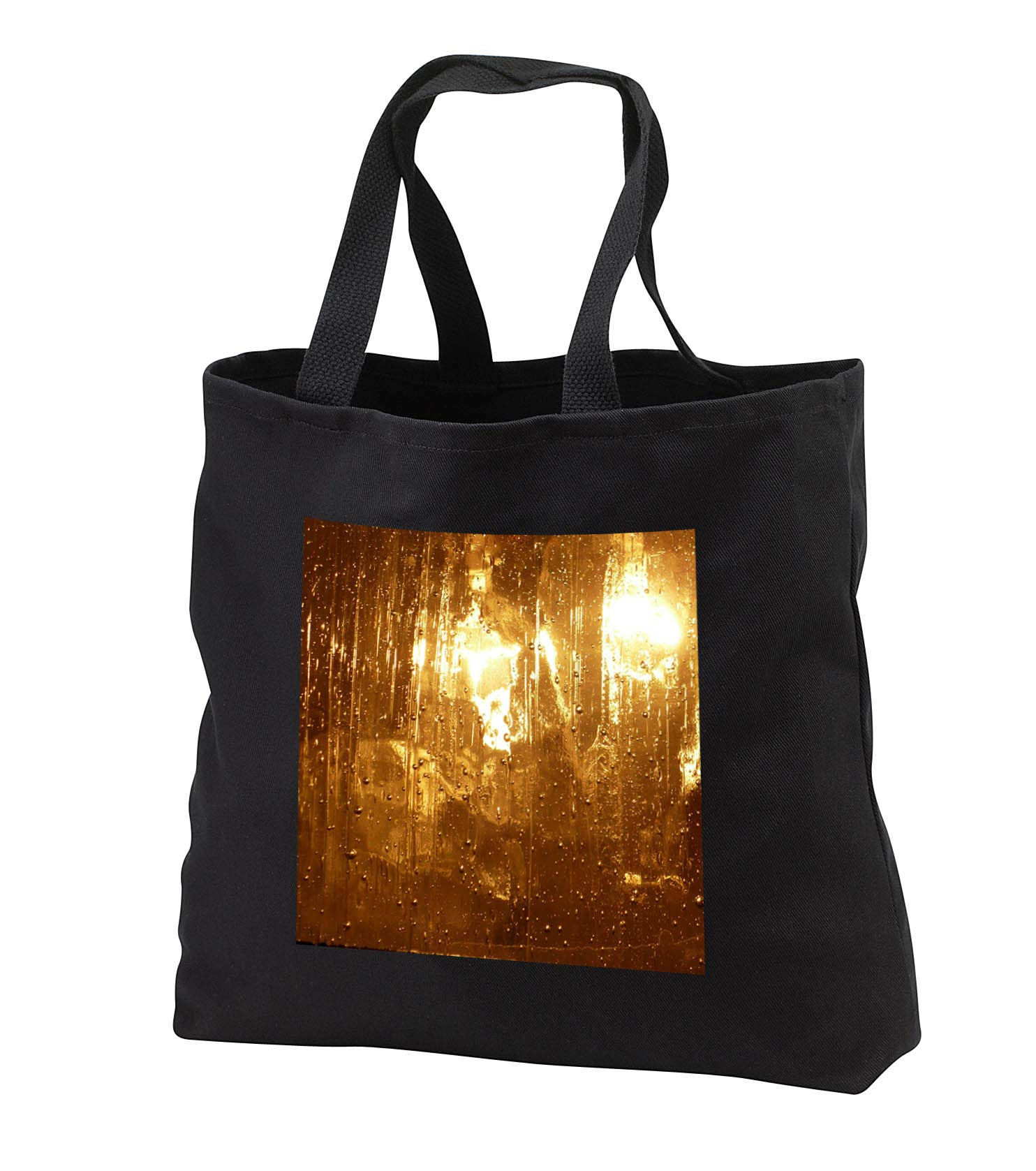 Lens Art by Florene - Everything Gold - Image of Abstract Rainy Gold Glass With Lights - Tote Bags - Black Tote Bag JUMBO 20w x 15h x 5d (tb_291027_3)