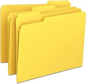 Smead File Folder, 1/3-Cut Tab, Letter Size, Yellow, 100 per Box (12943)