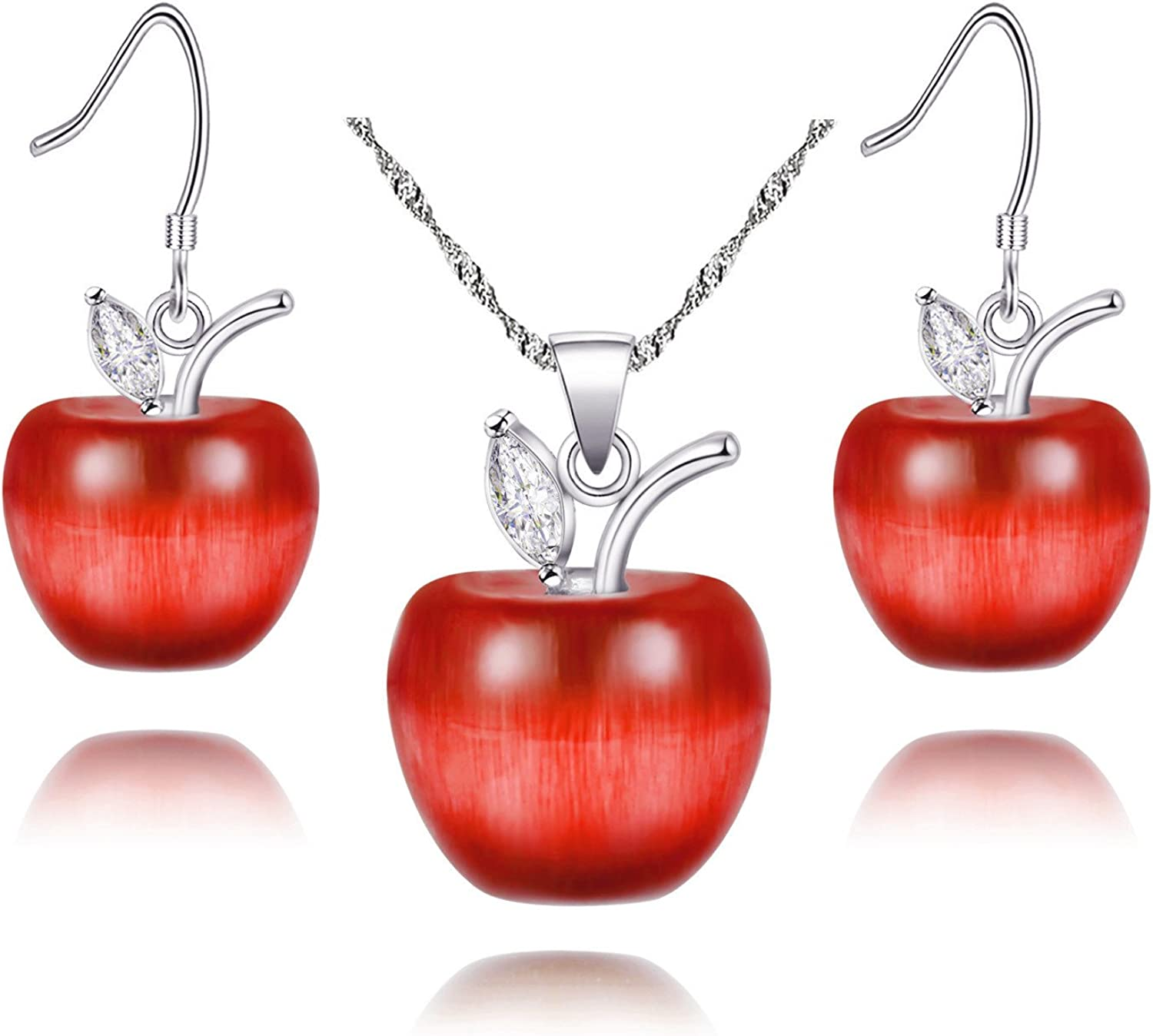 Uloveido Apple Necklace and Earrings Set for Women Girls Cute Apple Jewelry Set for Teacher Mom YL007