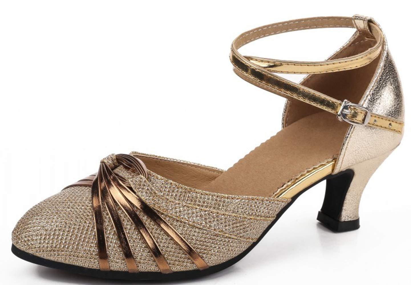 Or US6 EU36 UK4 CN36 Chaussures de danse Latine à Talons Bas pour Femmes Adultes Friendship Square