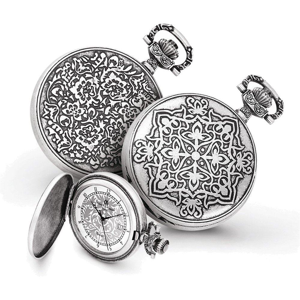 Charles Hubert Antiqued Floral Design Pocket Watch