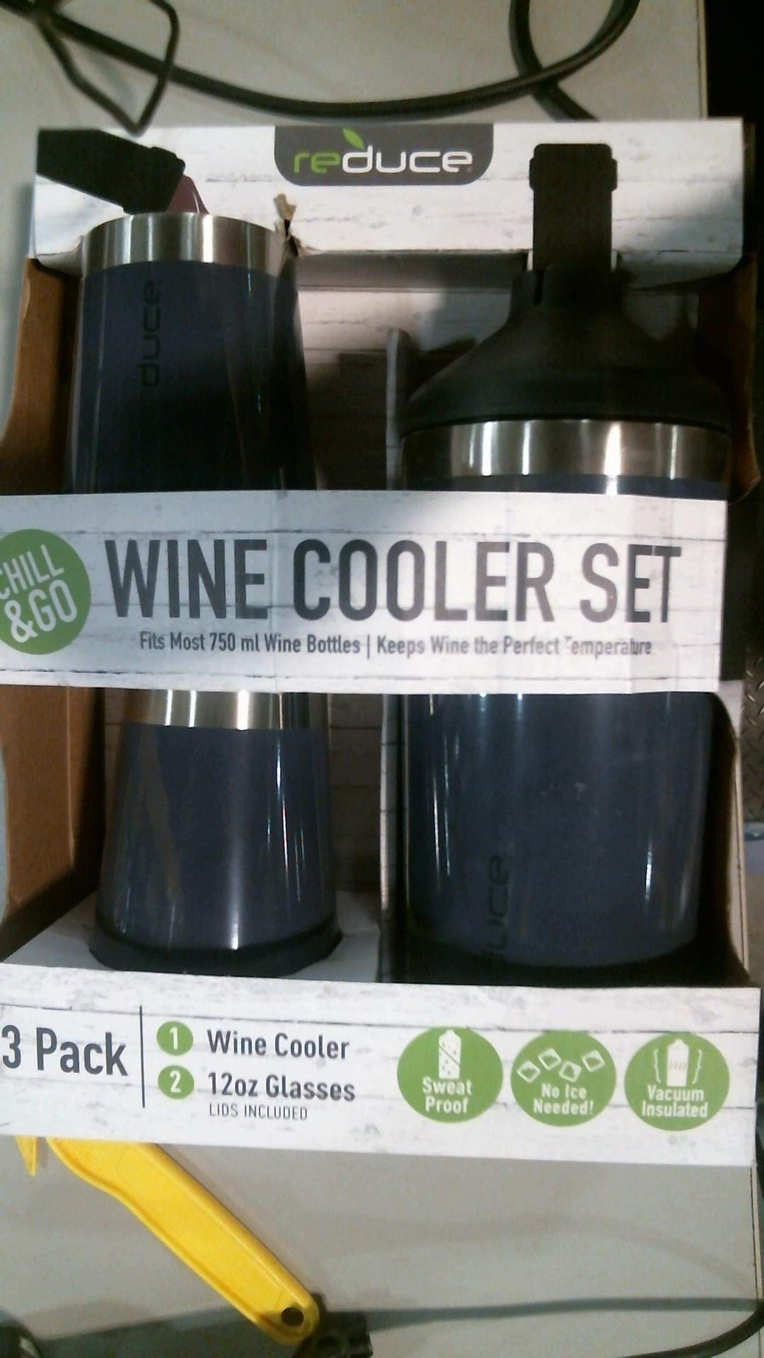 reduce Stainless Steel Wine Cooler Set, Mint - Includes (1) 750mL Wine Cooler with (2) Vacuum Insulated 12oz Wine Tumblers – Tasteless & Odorless, BPA Free