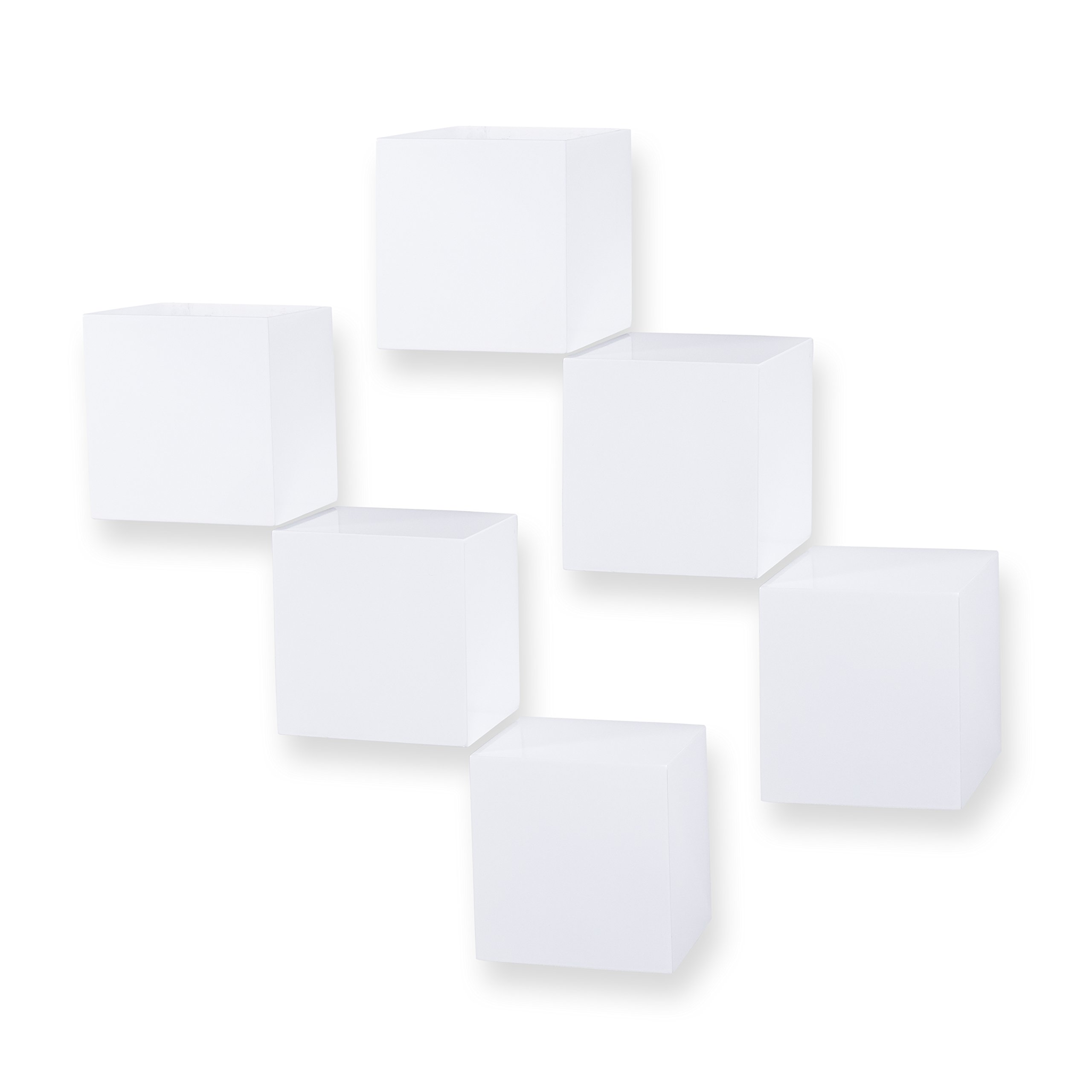 brightmaison Decorative Square Wall Cubes Floating Block Shelves Set of 6 White by brightmaison (Image #1)