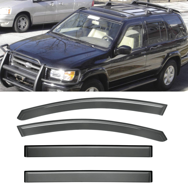 1996-2004 Nissan Pathfinder Black Horse Window Vent Visors Rain Guards  For