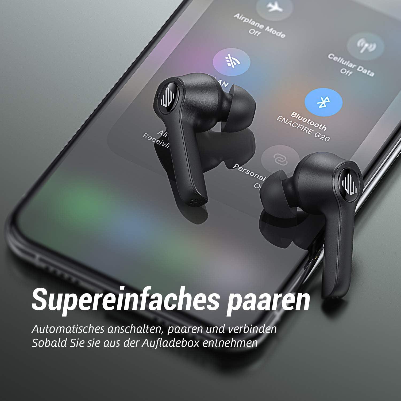 ENACFIRE Wireless-Kopfh/örer G20 Bluetooth-Kopfh/örer Touch Control 8H Nonstop-Spielzeit Apt-X Free Verlustfreie Audio-Ger/äuschunterdr/ückung Wireless-Kopfh/örer mit Dual-Mic IPX8 wasserdicht