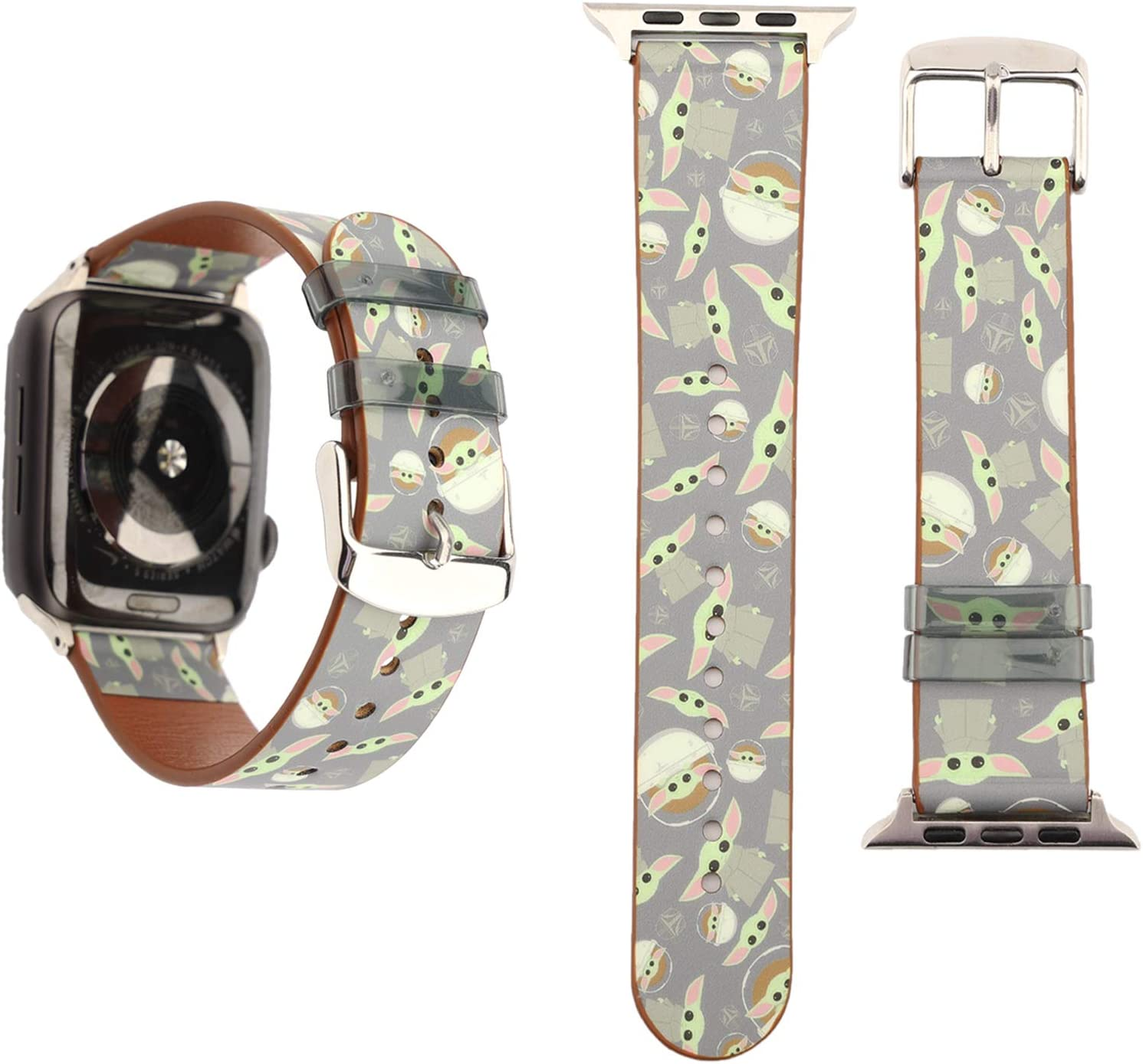 YSNUO Compatible with Apple iWatch Band 42mm 44mm, Soft Leather for Baby Yoda Watch Band Replacement Strap Women Men for iWatch Series 5 4 3 2 1 + Silver Adapter