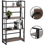 Vogue Carpenter 4-Tier Bookcase Shelf Organizer, No-Assembly Sturdy Foldable Rustic Stand Storage Shelves 23.6x11.6x49.2 Inch