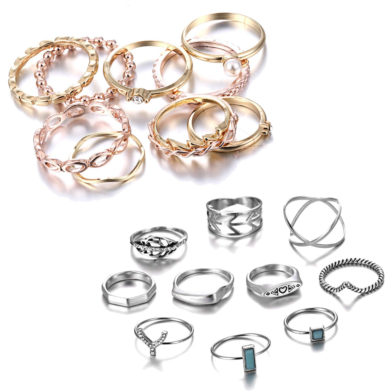 RINHOO FRIENDSHIP 10PCS Bohemian Retro Vintage Crystal Joint Knuckle Ring Sets Finger Rings (Gold+ Punk)