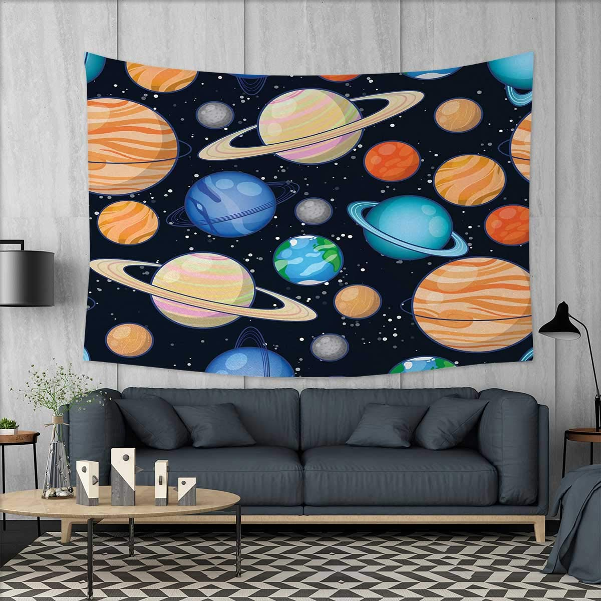 Anniutwo Galaxy Dorm Decor Cute Galaxy Space Art Solar System Planets Mars Mercury Uranus Jupiter Venus Kids Print Tapestry Table Cover Bedspread Beach Towel W71 x L60 (inch) Multi