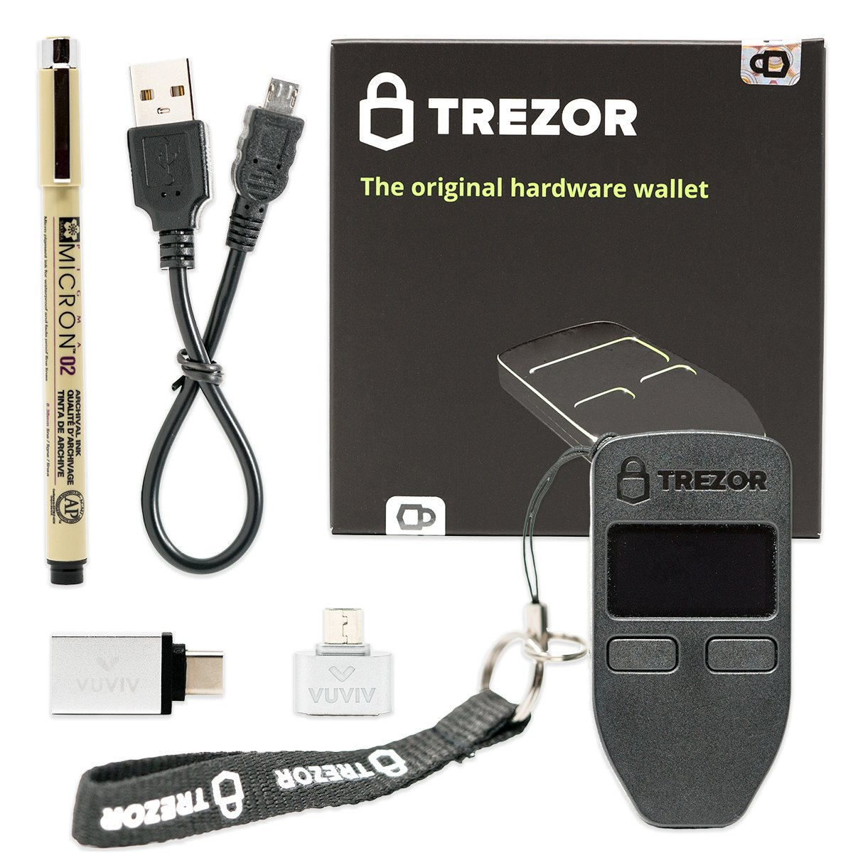 VUVIV Trezor (Black) Bitcoin Hardware Wallet Bundle With Micro-USB Adapter, USB-C Adapter for MacBook and Sakura Pigma Archival Ink Pen (4 items)
