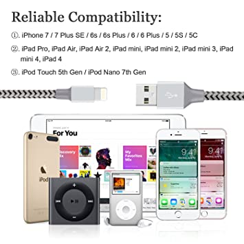 Amazon.com: IPhone Charger Cable, Quntis 2Pack 6ft Lightning To ...