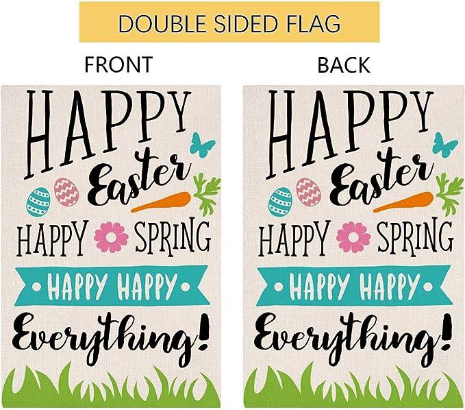 Happy Easter Garden Flag Vertical Double Sided 12 5 X 18 Inch Sping Burlap Yard Outdoor Decor Garden Outdoor
