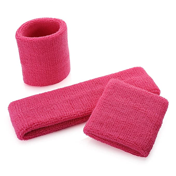 onupgo Sweatband Diadema muñequeras Set, algodón Rayas muñequeras Set para Running, Ciclismo, Tenis, fútbol, Baloncesto o más