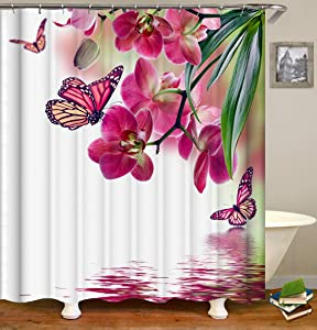 Shocur Nature Scenery Shower Curtain, Red Peach Blossom and Butterfly on The Lake Water, 72 x 72 Inches Floral Theme Bath Curtain, Polyester Fabric Bathroom Decor Set with 12 Hooks