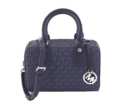 c77bfca96ea9 Amazon.com: Michael Kors Aria Signature Small Satchel Handbag Bag Admiral:  Shoes