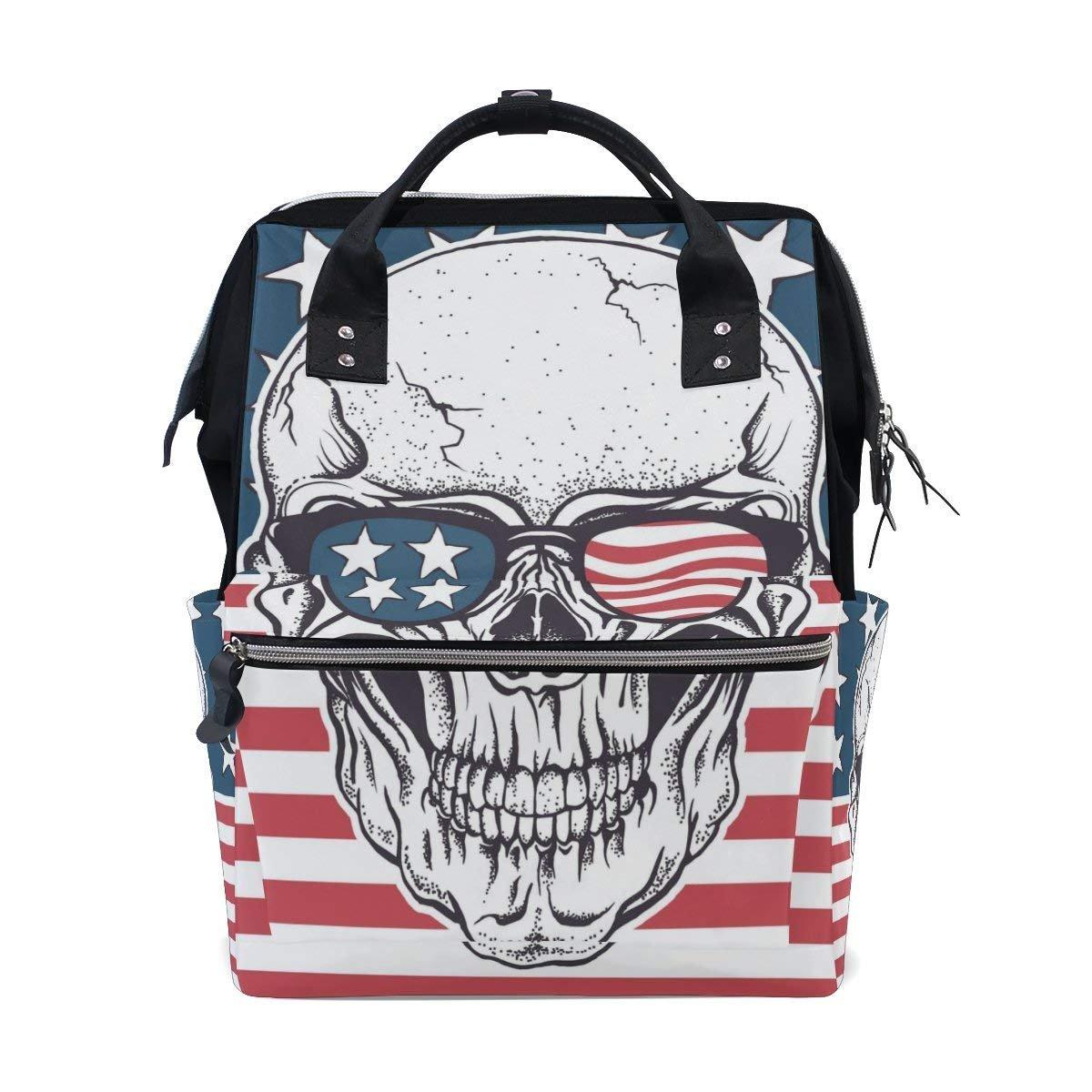 American Skull In Sunglasses Diaper Bags Mummy Backpack Multi Functions Bag