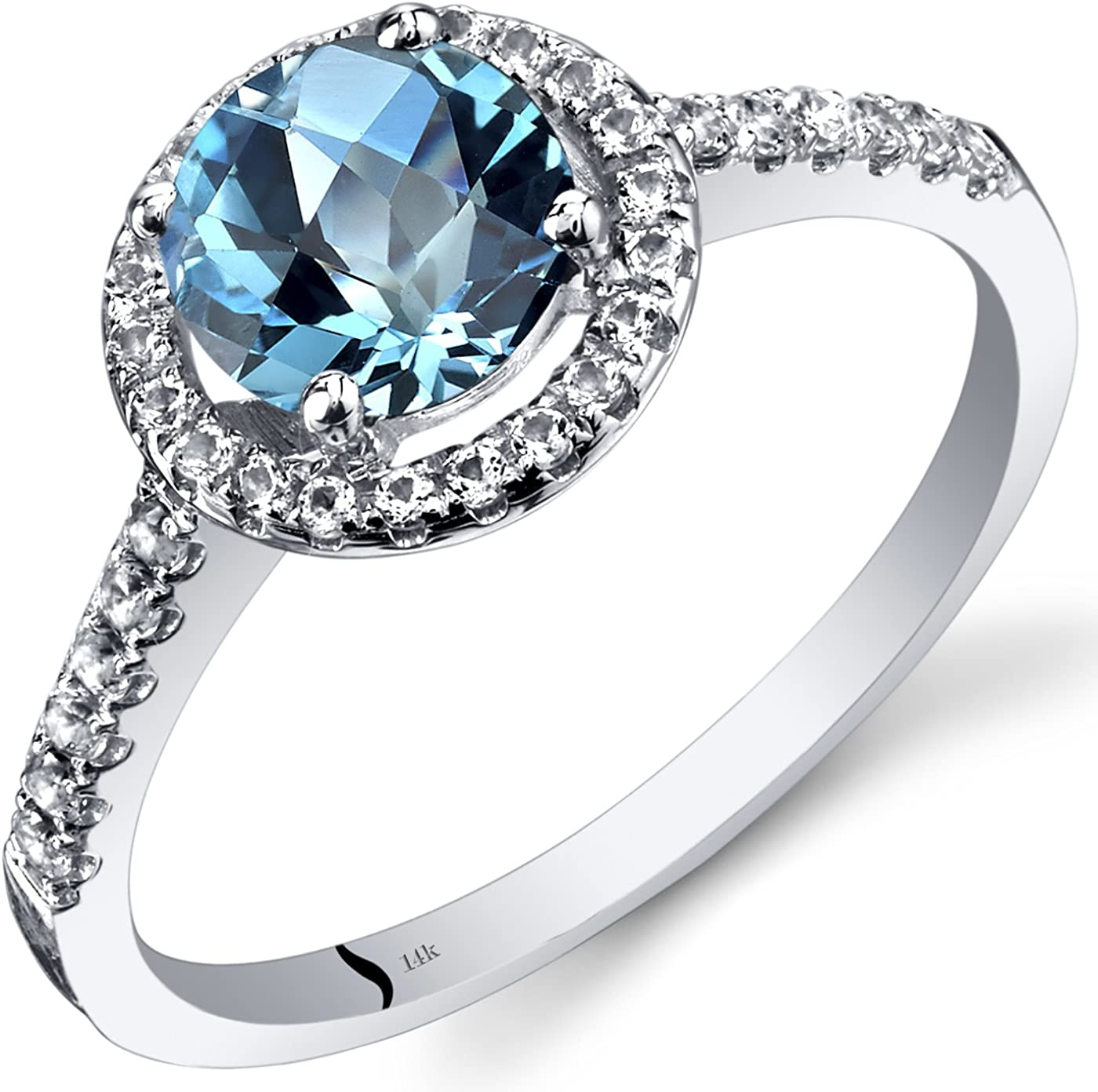 Amazon Com 14k White Gold Swiss Blue Topaz Halo Ring Round Checkerboard Cut 1 25 Carats Sizes 5 To 9 Jewelry
