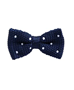 JIMIARTECH Men's Classic Tuxedo Bow Tie,Length Adjustable(DOTTED NAVY)