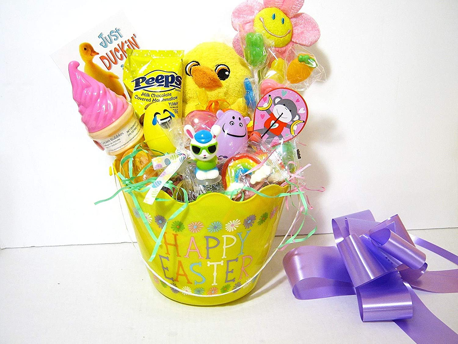 MORE EASTER GIFT BASKET PLUSH DUCK FLOWER CANDY BOUQUET EGG TREATS JUST DUCKY