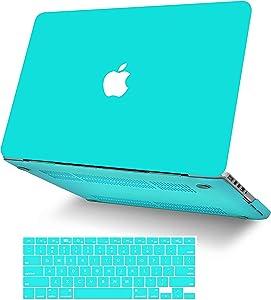 "KECC Laptop Case for MacBook Air 13"" w/Keyboard Cover Plastic Hard Shell Case A1466/A1369 2 in 1 Bundle (Matte Tiffany Blue)"