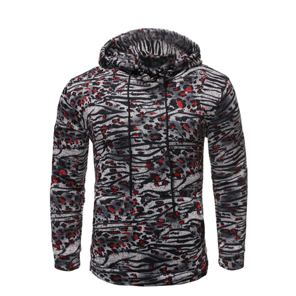 GDJGTA Sweater for Mens Casual Slim Fit Printed Long Sleeve Sweatshirt Hoodie Top Blouse