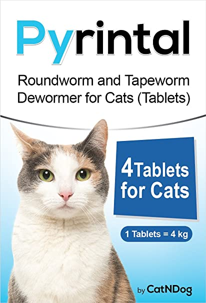 Pyrintal Roundworm and Tapeworm Dewormer for Cats 4 Tablets - The Easiest to Administer