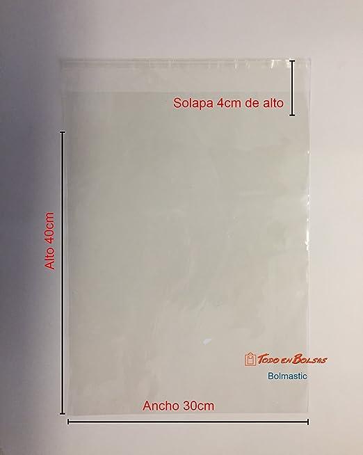 Bolsa de Polipropileno con Solapa Adhesiva de 30 x 40 cm (100 Unidades)