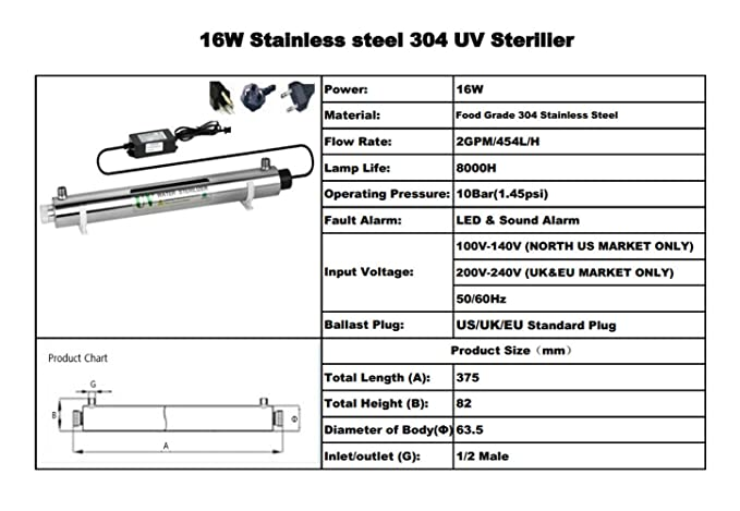 2GPM ULTRAVIOLETA de agua desinfecciš®n sistema de acero inoxidable 304 UV esterilizador caudal 16W (vatios) Ultra Violeta luz agua filtro purificador con ...