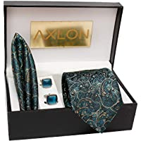 AXLON Men's Necktie, Pocket Square, Cufflink (Multicolour, Free Size)
