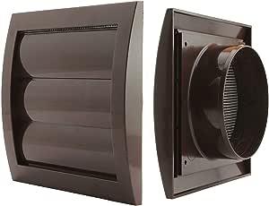Jalousie - Rejilla de ventilación diámetro de 150 mm con láminas pesadas y rejilla antinsectos plástico ABS resistente a la intemperie láminas móviles rejilla de ventilación de campana extractora, marrón, Ø 125