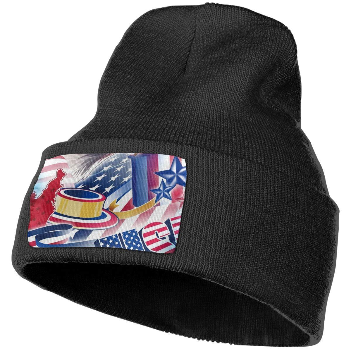 a6282ddb11d60 Amazon.com  Eagle American Flag Winter Beanie Hat Soft   Warm Chunky Skull  Wool Knit Hats Cap for Men Women  Clothing