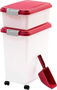 IRIS USA 3Piece Airtight Pet Food Container Combo, Red MP-8/MP-1/SCP-2, Garnet Red/Pearl