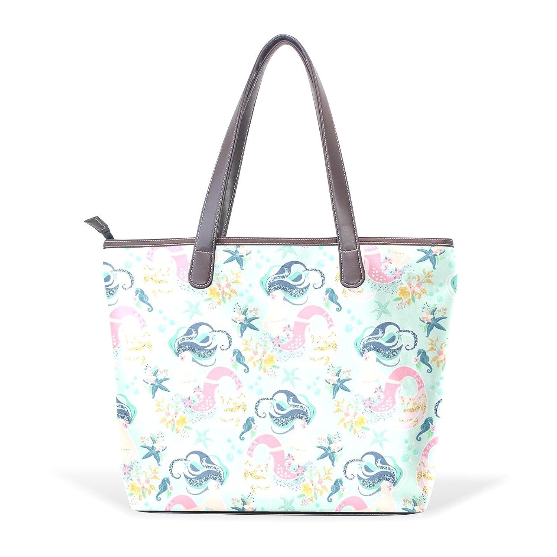 Womens Leather Tote Bag,Girls Like Sea Ocean Mermaid,Large Handbag