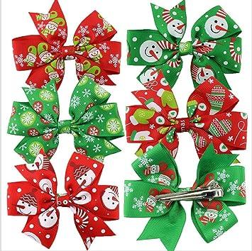 58b89cf09bd60 Amazon.com   6Pcs Christmas Hair Bow Clips Baby Girl Hair Clips Hair  Accessories (Style-1)   Beauty