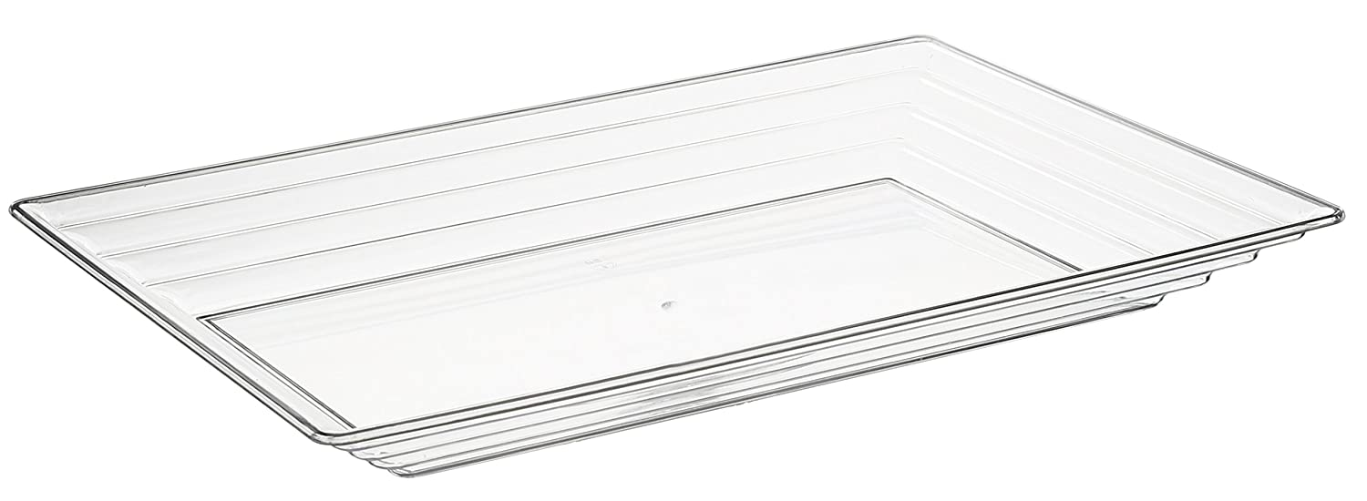 (24 Serving Trays, Clear) - Kaya Collection - Clear Plastic Serving Tray Heavyweight Rectangular Platter 28cm x 41cm Disposable or Reusable - 1 Case (24 Trays) 24 Serving Trays クリア B06XR8QD3L