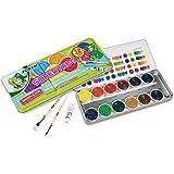 Jolly Supertabs | Deckfarbkasten, Farbkasten | 12 Farben inkl. zwei Pinsel und Deckweiß im Metalletui