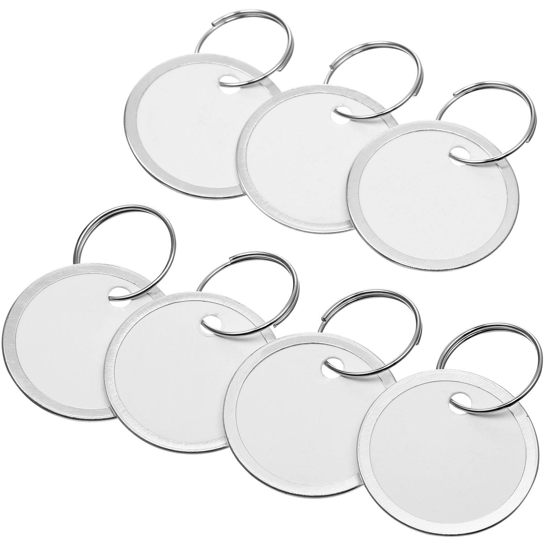 Amazon.com: 50 etiquetas redondas de metal para llaves, con ...