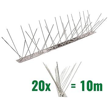10 metros de Púas antipalomas V2A con base de Acero inoxidable flexible - 3-hileras de Púas antipalomas la solución de calidad para el control de aves
