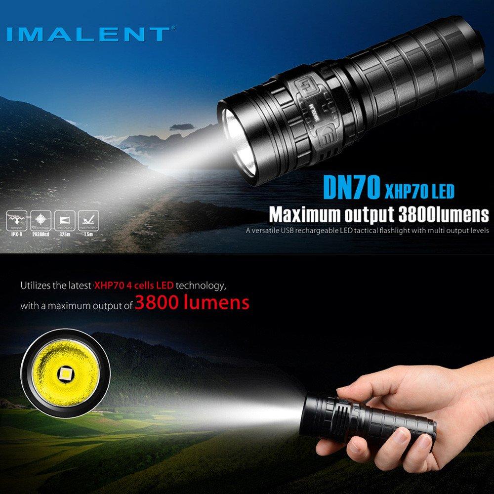 Taschenlampe IMALENT DN70 XHP70 3800LM 26650 LED Taschenlampe taktische wiederaufladbare Beleuchtung